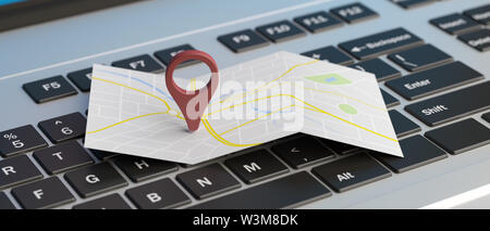 Online maps, gps navigation concept. Map pointer location on a computer laptop. 3d illustration - Stock Photo