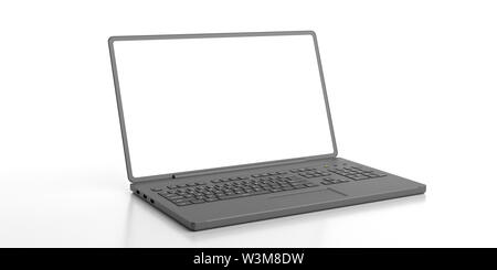Computer laptop blank white screen, isolated against white background, copy space. 3d illustration - Stock Photo