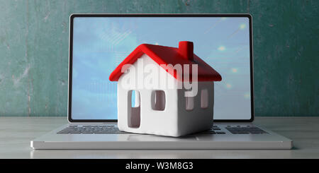 Smart home, real estate and technology concept. House model on a computer laptop, wooden office desk. 3d illustration - Stock Photo