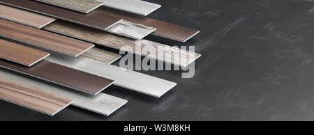 Laminate floor on black board background, banner, copy space. 3d illustration - Stock Photo