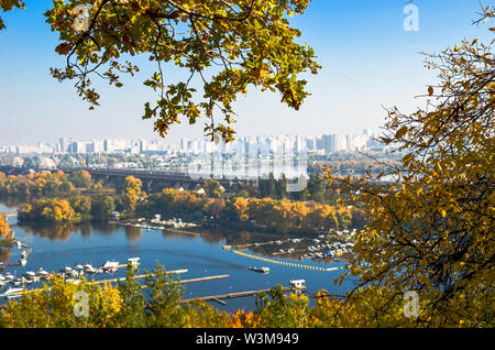 Panoramic view of district Podil and the Dnipro river in Kyiv at autumn - Stock Photo