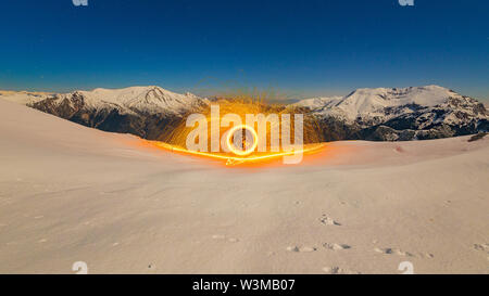 Flaming Steel Wool - Stock Photo