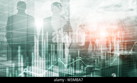 Business Finance Chart Graph. Trading Forex Exchange Investment Fintech concept. Mixed media. - Stock Photo