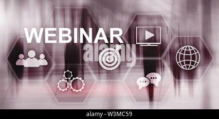 Inscription on virtual screen: Webinar. Abstract business background - Stock Photo