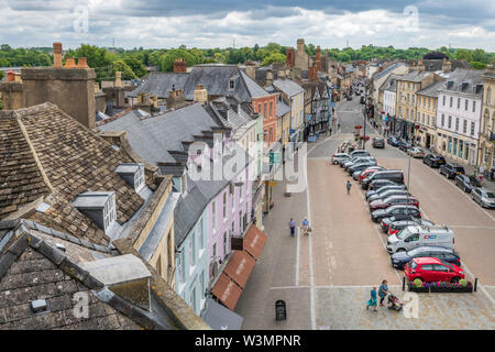 Cirencester, Gloucestershire. The new pedestrian layout of Cirencester Marketplace as seen from St John the Baptist Church roof. - Stock Photo