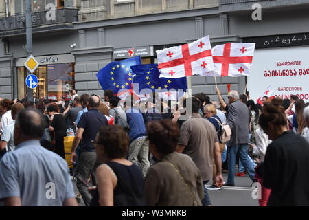 Anti-Russian Demonstrations in Tbilisi, Georgia (Country) 29th June 2019 - Stock Photo