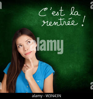Cest la Rentree Scolaire - French college university student woman thinking Back to School written in French on blackboard by female on green chalkboard. French language at college or high school. - Stock Photo