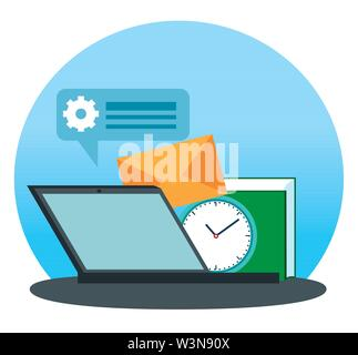 laptop technology with letter message and book information - Stock Photo