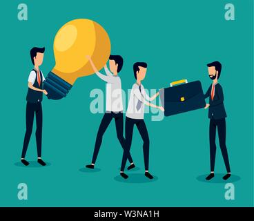 professional businessmen teamwork with bulb idea and briefcase - Stock Photo