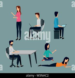 set of businessmen and businesswoman teamwork strategy - Stock Photo