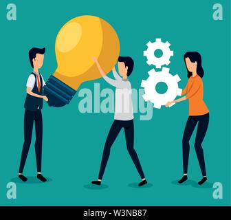 businessmen and businesswoman teamwork with bulb idea and gears - Stock Photo