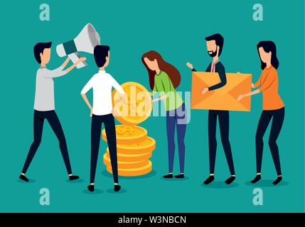 businessmen and businesswomen teamwork with coins and megaphone - Stock Photo