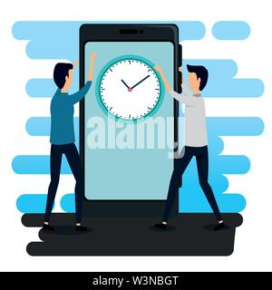 businessmen teamwork with smartphone technology and clock - Stock Photo