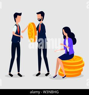 professional businessmen and busitesswoman sitting in the coins - Stock Photo