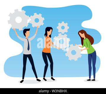 businesswomen and businessman teamwork with elegant clothes - Stock Photo