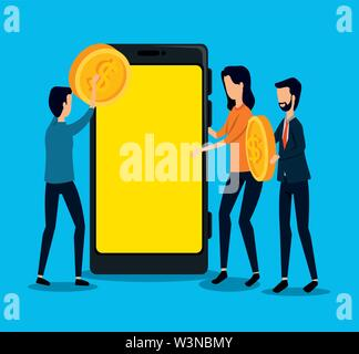 businessmen and businesswoman teamwork with coin and smartphone - Stock Photo