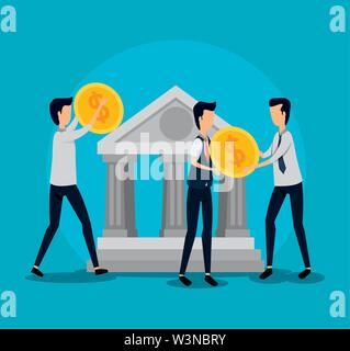 professional businessmen teamwork with coins and bank - Stock Photo
