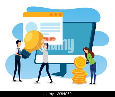 businessmen and businesswoman with computer and website with coins - Stock Photo