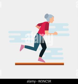 old woman running vector illustration in flat style - Stock Photo