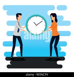 businessman and businesswoman with clock teamwork strategy - Stock Photo