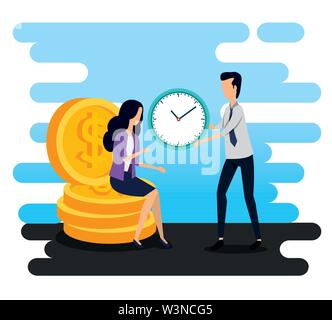 businesswoman sitting in the coins and businessman with clock - Stock Photo