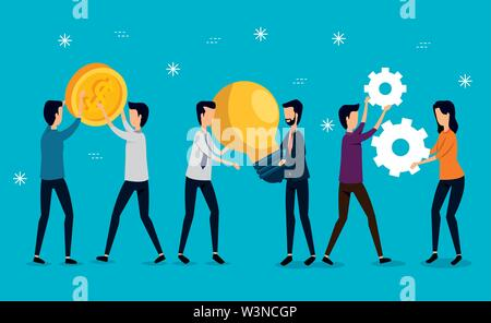 businessmen and businesswoman teamwork with coins and gears - Stock Photo