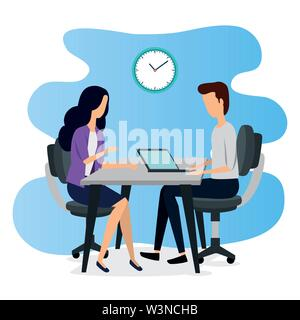 businesswoman and businessman teamwork with laptop and clock - Stock Photo