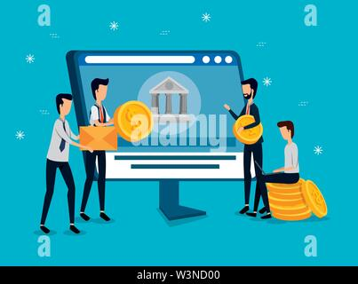 professional businesswomen with computer technology and coins - Stock Photo