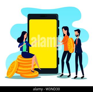 businessman and businesswomen teamwork with coins and smartphone - Stock Photo
