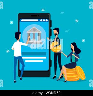 businesswoman and businessmen teamwork with smartphone and coins - Stock Photo