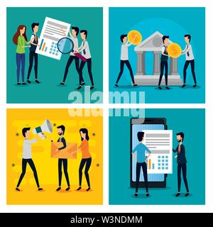 set of businessmen and businesswomen teamwork data information - Stock Photo