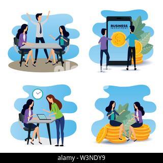 set of businesswomen and businessmen teamwork data information - Stock Photo