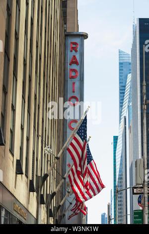New York City/USA -May 25, 2019 Radio City Music Hall, Rockefeller Center, Avenue of the Americas, Midtown Manhattan, NYC - Stock Photo