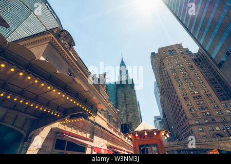 A 42nd Street Entrance to Grand Central Terminal and Skyscrapers in Midtown Manhattan, New York City - Stock Photo