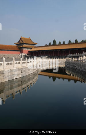 one part of the forbidden city in beijing with river and bridge