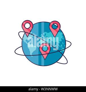 world planet earth with pins location vector illustration design - Stock Photo
