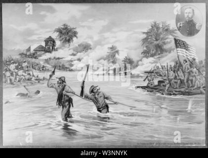 Col. Funston and 20th Kansas volunteers crossing the river at Calumpit, April 26th 1899 - Stock Photo