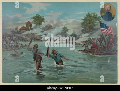 Col. Funston and 20th Kansas volunteers crossing the river at Calumpit, April 26th 1899 - A. Hencke '99. - Stock Photo