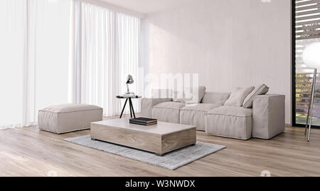 Modern interior design of living room with italian style furniture and big sliding doors and windows, garden and trees in background, 3d rendering - Stock Photo