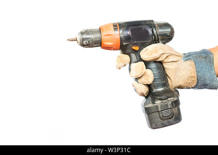 Wood drill bit with shaving on white background - Stock Photo