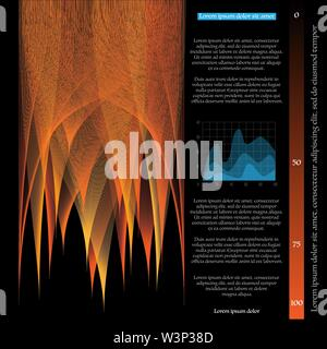 Abstract black background with big data blend lines and sample text - Stock Photo