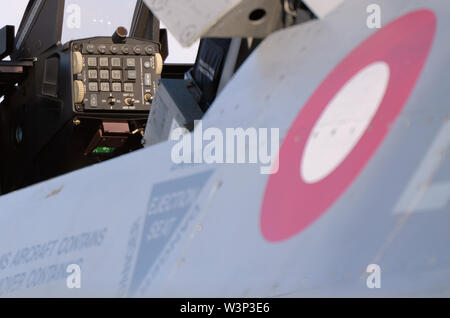 Cockpit instruments of a Royal Danish Air Force F-16 Fighting Falcon fighter jet plane at the Royal International Air Tattoo, RIAT. HUD buttons keypad - Stock Photo