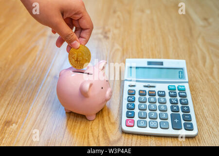Woman hand holding golden bitcoin put into piggy bank - Stock Photo