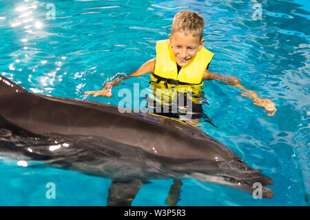 Happy Boy swimming with dolphins in the blue clear water - Stock Photo