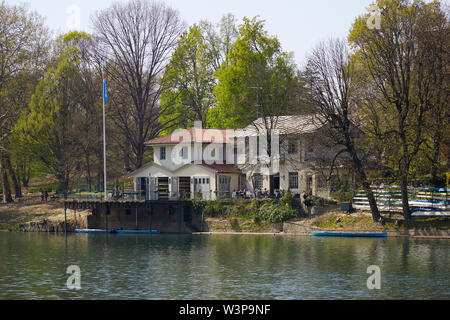 TURIN, ITALY - MARCH 31, 2019: Cerea Rowing Club building and terrace with people, Po river in Piedmont, Turin, Italy. - Stock Photo