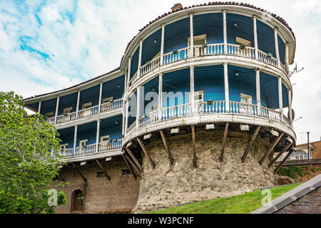 A traditional european house on a hill. Historical and architectural heritage. Tbilisi, Georgia, Mar.2017 - Stock Photo