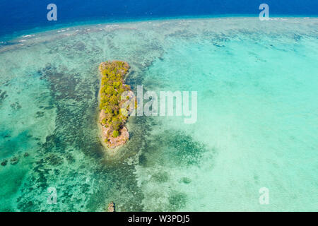 Small island with trees. Island on a coral reef, top view. Nature of the Philippine Islands. - Stock Photo