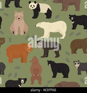 All world bear species in one set. Bears seamless pattern. Vector illustration - Stock Photo