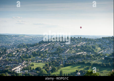 Bath, Somerset, UK. 7th July 2019.  View of Bath and Larkhall in foreground from Little Solsbury Hill in Batheaston, Somerset, UK. - Stock Photo
