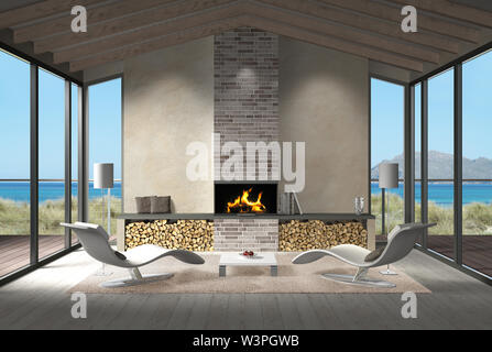 3D rendering showing a modern seaside living room interior in the dunes with fire place and view to the sea and the coast - Stock Photo